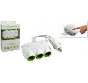 Triple Socket Dual USB Car Adapter