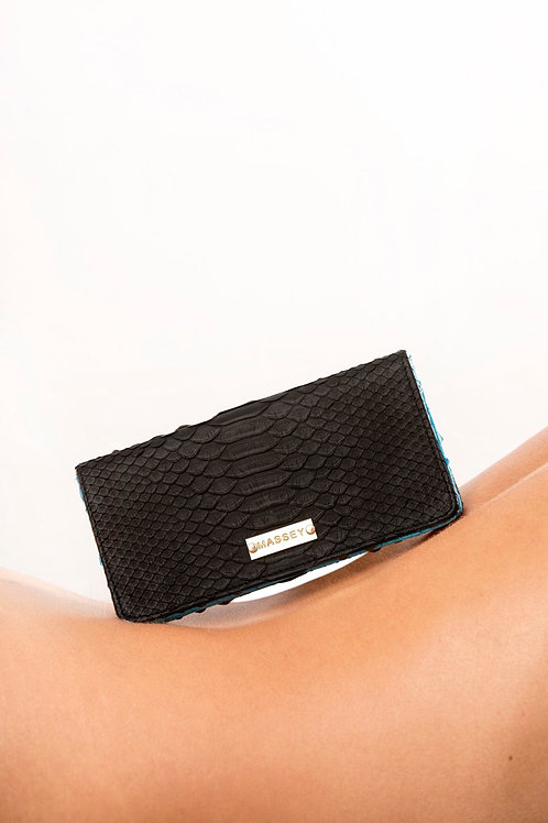 Black - Aqua Large Card Holder