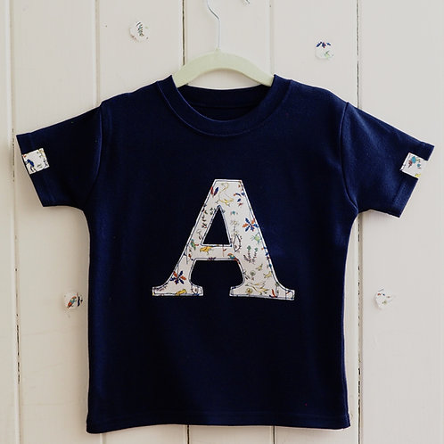 Navy Short Sleeved Initial T Shirt