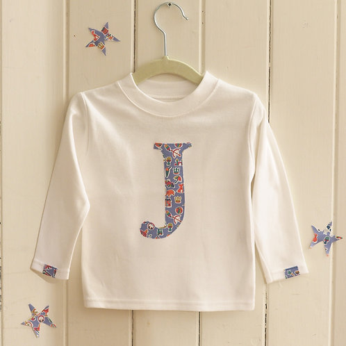 White Long Sleeved Initial T Shirt