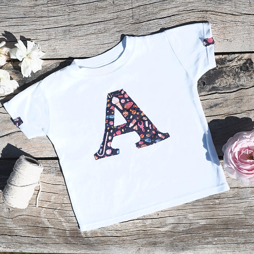 White Short Sleeved Initial T Shirt