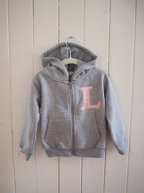 Grey Initial Zip Up Hoodie