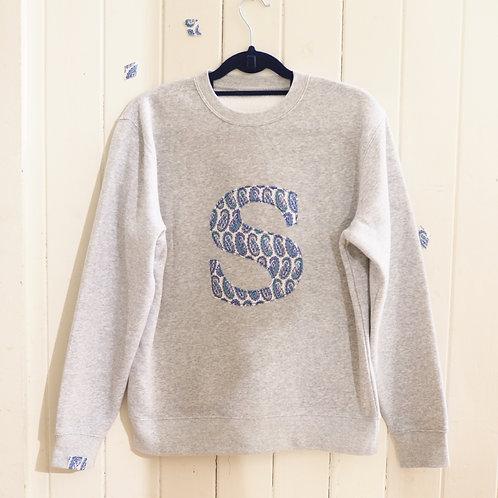 Grey Mama and Papa Initial Sweatshirt