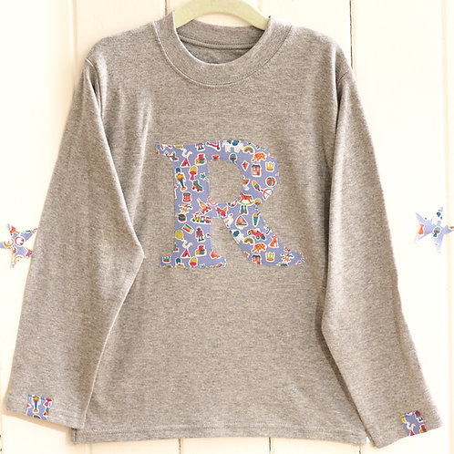 Grey Long Sleeved Initial T Shirt