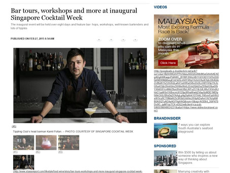 In The Media: Bar tours, workshops and more at inaugural Singapore Cocktail Wee - The Straits Times