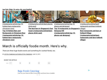 In The Media: March is officially foodie month. Here's why. - SG Magazine Online