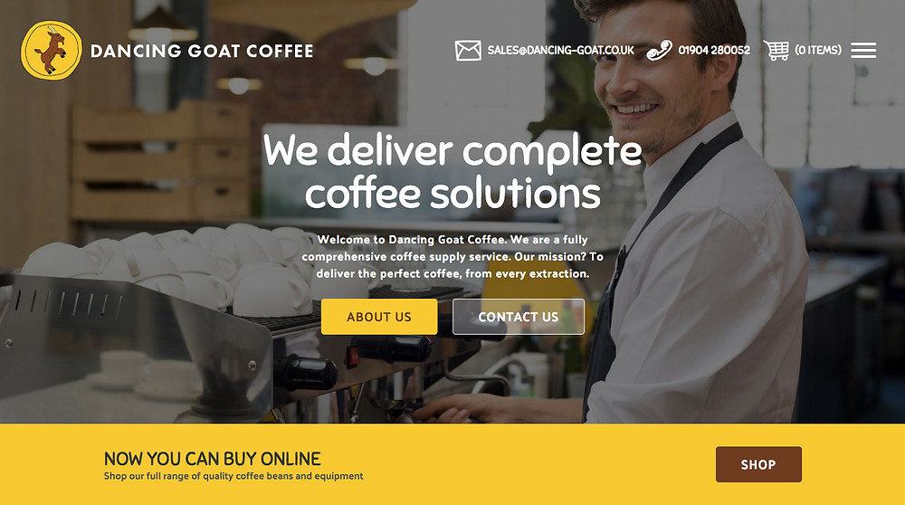 Dancing Goat Coffee - New Website Home Page