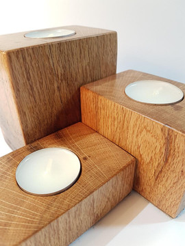 3 Oak tealight holders