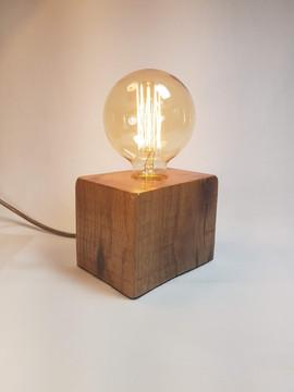 Oak block exposed bulb lamp