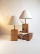 Pair of Oak block lamps