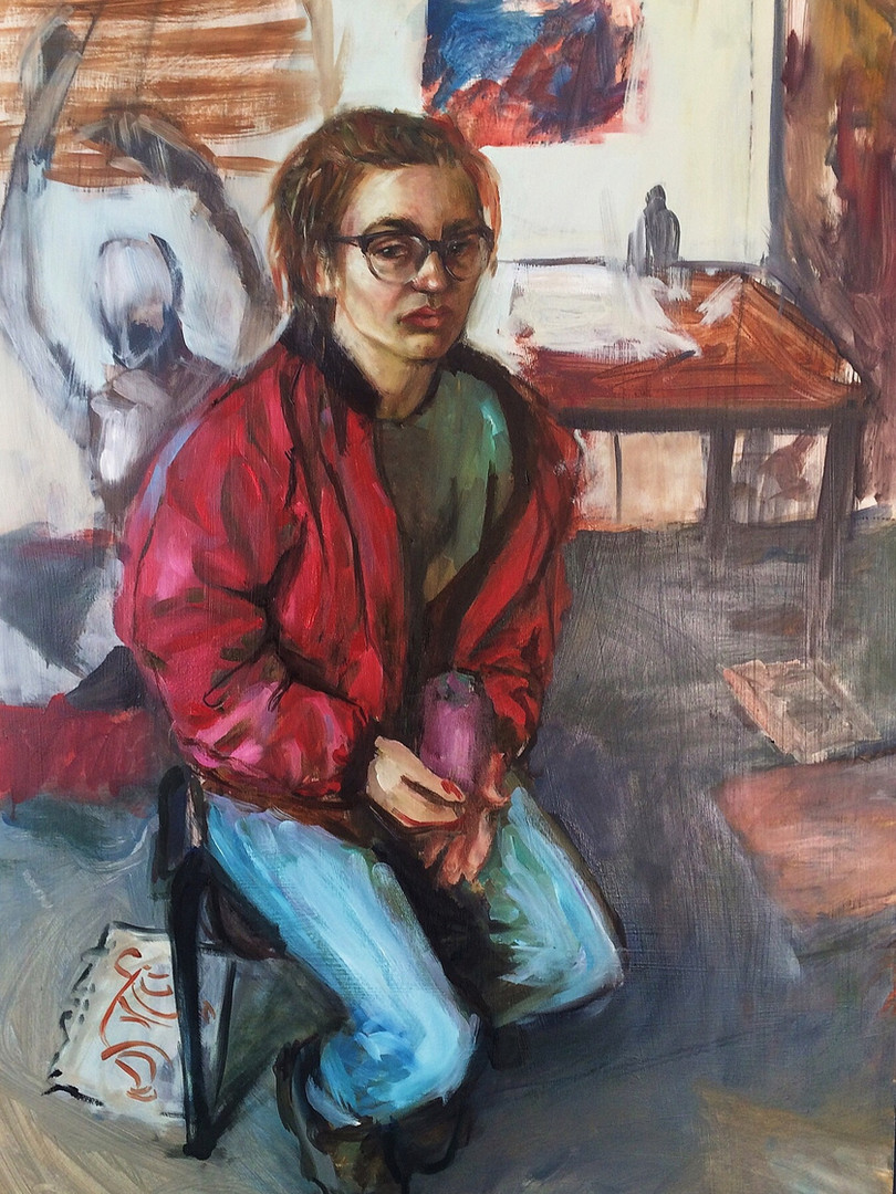 Self portrait in the studio, 2016