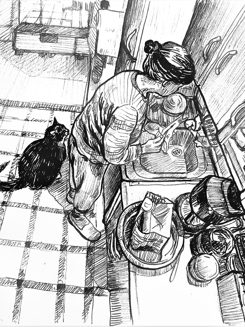 Mother is cleaning the fish, 2019