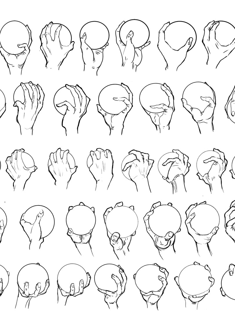 hand studies with sphere, 2018