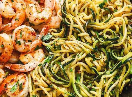 Spaghetti de courgettes aux scampis