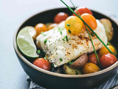 Cabillaud & légumes rôtis au four