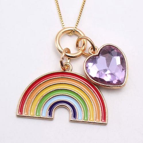 Rainbow Enamel Necklace