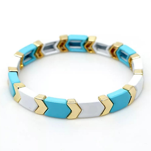 Turquoise & Gold Tile Bracelet