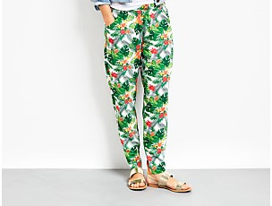 Hush Tropical Leaves Relaxed Trousers
