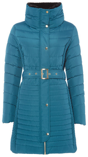 Tu clothing Teal Quilted Belted Coat £40