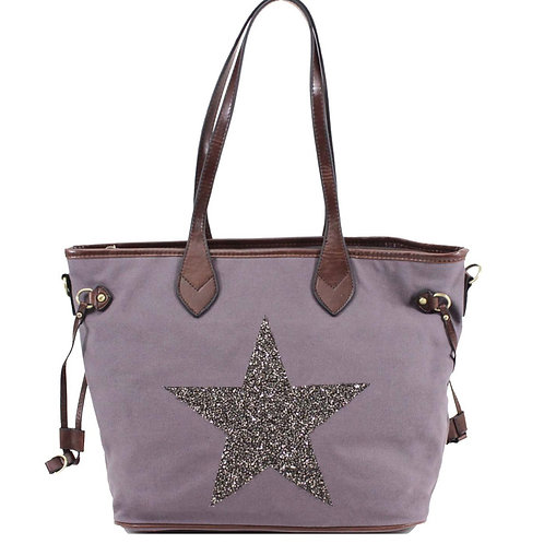 Grey Star Canvas Bag
