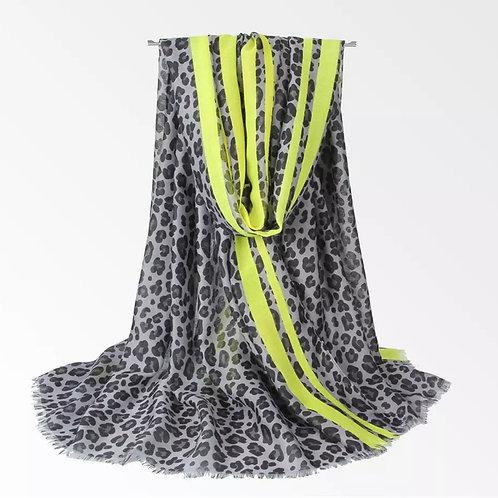 Grey & Neon Leopard Scarf