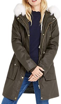 Oasis Borah Wax Parka Coat, Khaki £75
