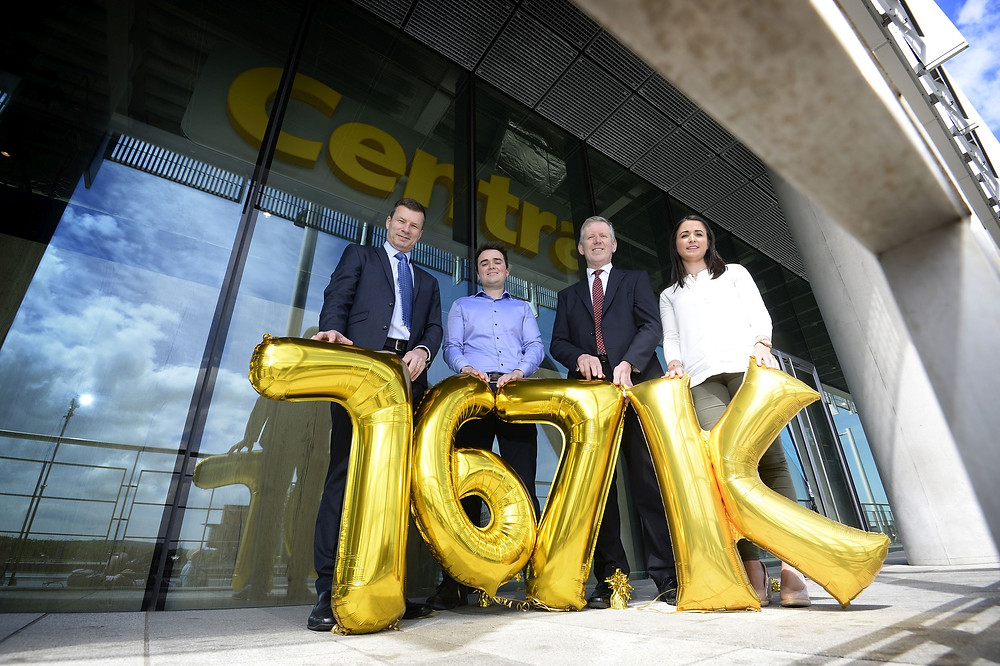 Pictured L-R: Nigel Maxwell, Centra Sales Director; Stephen Gracey and Anna McErlean, owners of the new Centra store at City Quays, Belfast; and Graeme Johnston, Property Director, Belfast Harbour. Leading convenience retailer, Centra is set to open its latest new-look store at City Quays, creating 15 new jobs.  Located on the waterfront of City Quays 2 in Belfast Harbour, the brand-new store is part of a significant £767,000 investment by Musgrave and the Gracey family; a well-known local family business, based in Belfast. The new store will open to the public on Tuesday 28th May.   Picture by Stephen Hamilton, Press Eye.