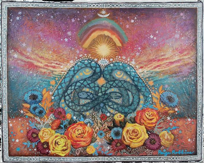 "Sisters' Celestial - 16"" x 20"" Medium Acrylic Painting"