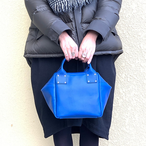Leather Handbag<CUBE> Blue(青)