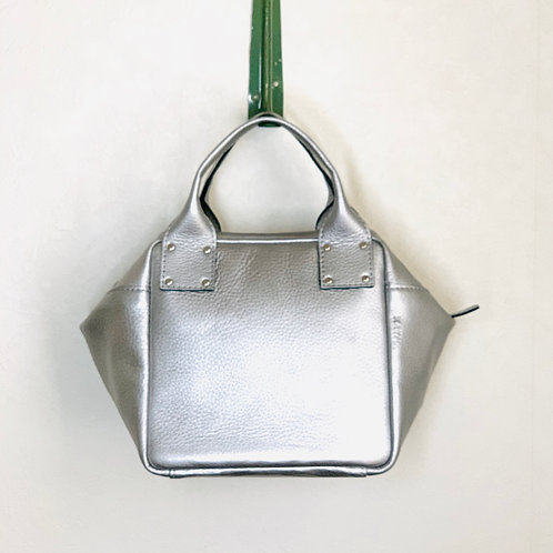 Leather Handbag<CUBE> Slver(シルバー)