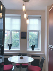 Kitchen - re-painted, new floor fitted, new dining table/chairs, lights and roller blinds