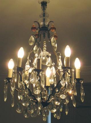 Guest bedroom antique crystal chandelier