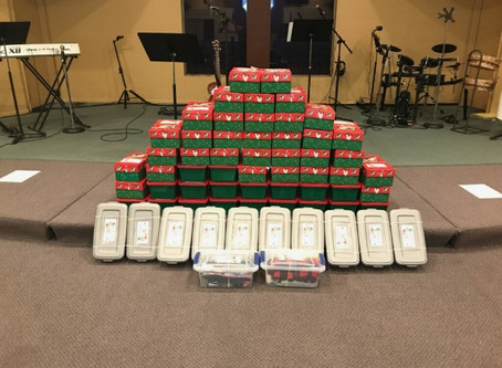 Over 70 boxes packed for Operation Christmas Child!