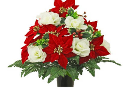 Red Poinsettias / White Roses
