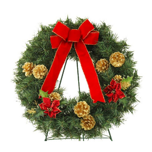 Wreath with Gold Cones and Red Poinsettias