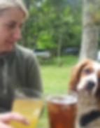 Rebecca and Percy dog, pub garden