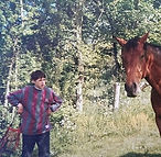 Oliver as a child and his horse