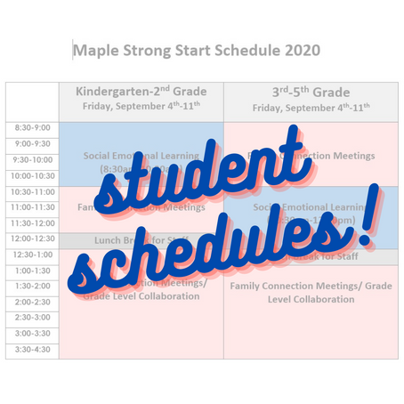Maple Student Schedules 2020-2021