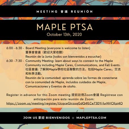 Maple PTSA - October Meeting 十月會議 Reunión en Octubre