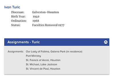 Archdiocese of Galveston-Houston Assignment History for Rev. Ivan Turic