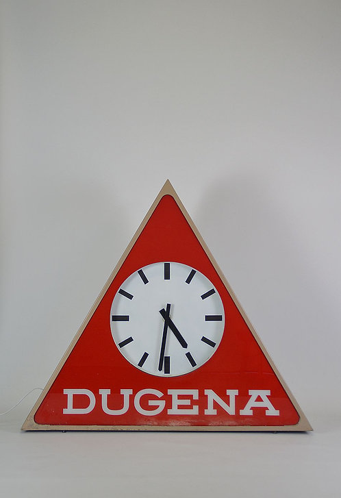 Vintage XXXL klok met verlichting en reclame van Dugena