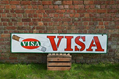 Vintage emaille bord met reclame van Visa sigaretten, Emaillerie Fluorec, 1963