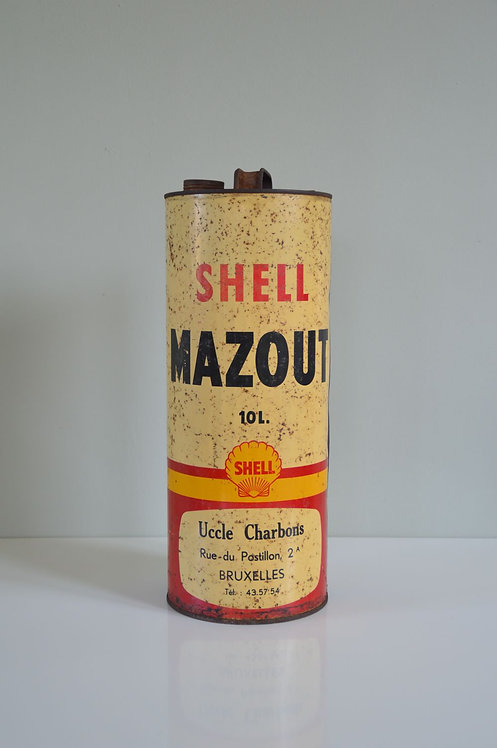 Vintage olieblik Shell mazout 10 liter, jaren '50