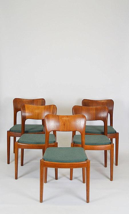 Set van 5 Deense stoelen ontworpen door Niels Koefoed, jaren '60
