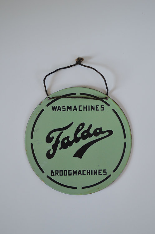 Emaille reclamebordje Falda wasmachines & droogmachines, 1949