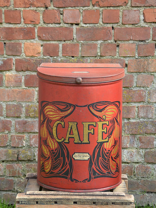 Antiek groot winkelblik voor koffie in mooie staat