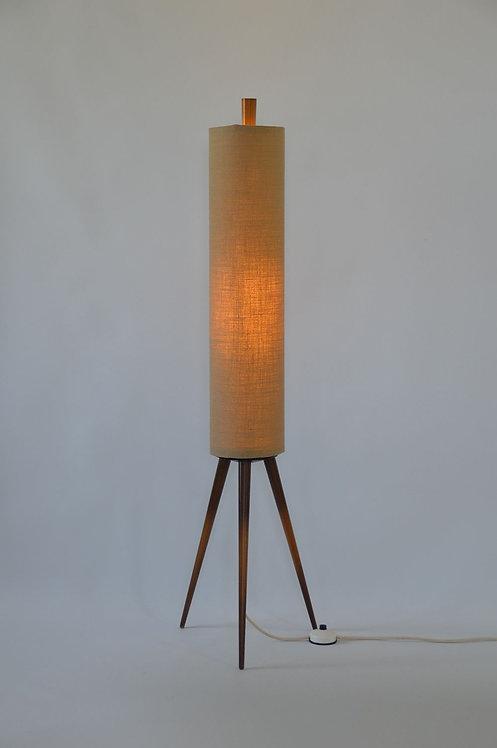Vintage rocket lamp met houten 3-poot uit de jaren '60