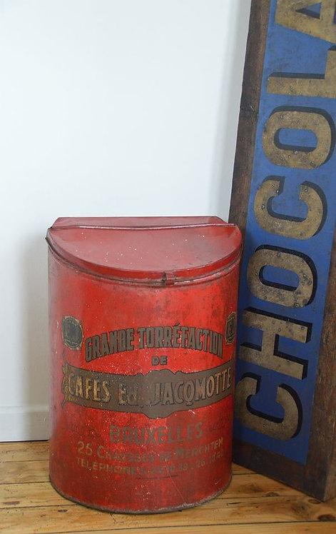 Mooi groot koffieblik met reclame van koffiebranderij Jacqmotte