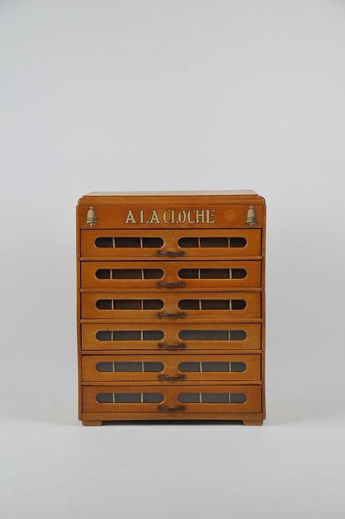 Antieke garenkast 'A La Cloche' met 6 laden, begin 20ste eeuw
