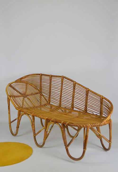 Rotan chaise longue van Rohe Noordwolde, jaren '60